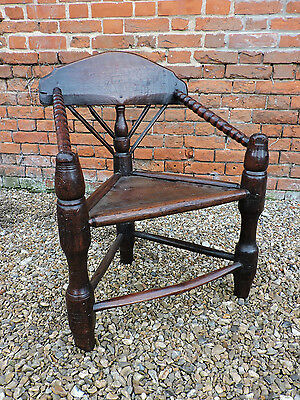 Rare 16th Century Welsh Antique Oak & Ash Turned Chair / Turners Chair Armchair