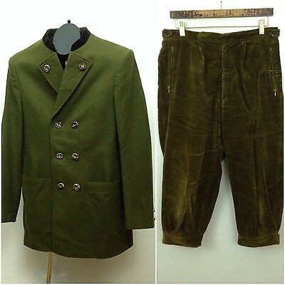 Vintage 1960s Green Austrian Wool Olympic Jacket & Knickers Military Small