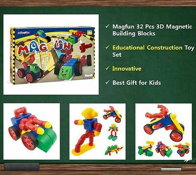 Magfun 32Pcs Magnetic 3D Educational Building Blocks Toy Sets for 3+ Years Kids
