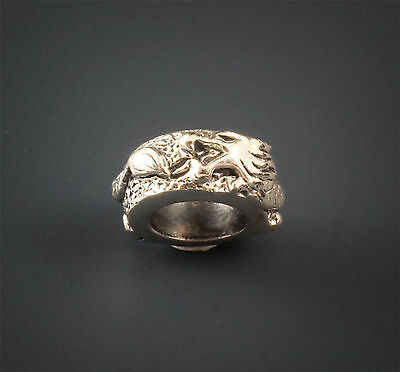 Genuine Solid 925 Sterling Silver charm bead dragon spacer goth fits bracelet
