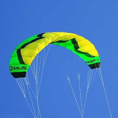 Green 3M² Quad Line Traction Kite Trainer Kite for Boarding Sports Practice