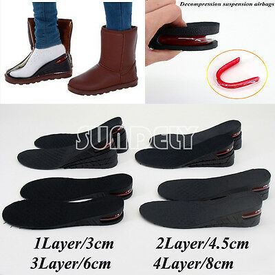 "1.2""- 3.2"" Unisex Air Cushion Height Increase Shoe Insoles Pair Taller Heel Lift"