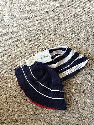 2 X Baby Boys Bluezoo Navy Nautical Summer Bucket Hats Age 0-6 Months BNWT NEW