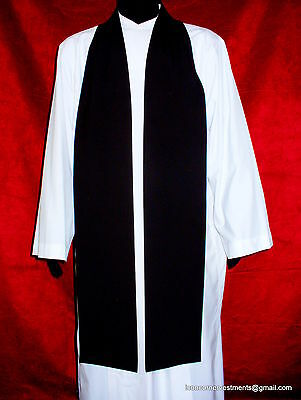 Clergy Black Preaching Scarf / Tippet. Made in Australia Quality and affordable