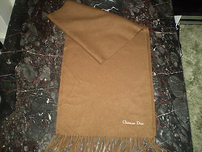New Christian Dior Brown Scarf 100% Lambs Wool Men's/Ladies
