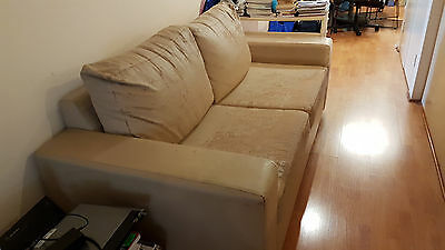 Beige Leather 3 Seater Sofa Bed