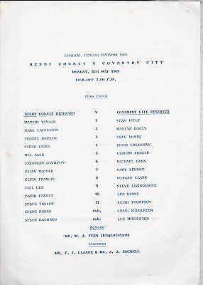 DERBY COUNTY v COVENTRY CITY  RESERVES ~ 8 MAY 1989