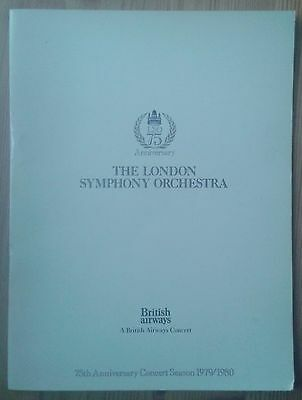 London Symphony Orchestra 75th Anniversary progamme Royal Festival Hall Jan 1980