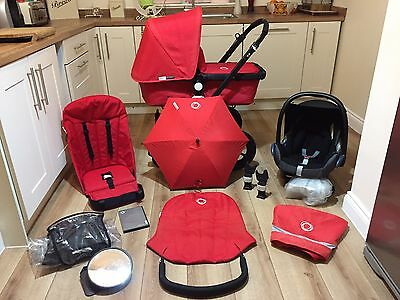 Bugaboo Cameleon Pram Pushchair Travel System All Red + Maxi Cosi Car Seat +++++