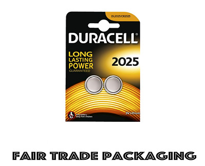 2 x Duracell CR2025 3V Lithium Coin Cell Battery, BR2025, SB-T14, 280-205