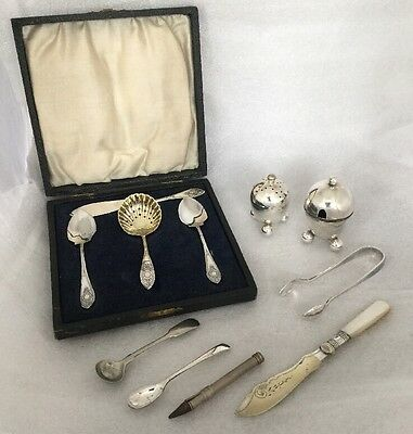 Job Lot Of Antique Vintage Silver Plated Items Includes Afternoon Tea Serving