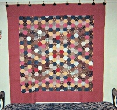 HONEYCOMB with Border Antique Quilt,  from PA, c. 1880, Cottons, 74 x 76