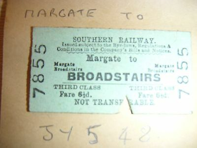 Southern Railway  RAIL TICKET  BROADSTAIRS  /Margate  7855 Dated  5 JY1948