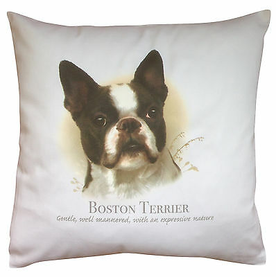 Boston Terrier Dog | 100% Cotton Cushion Cover & Zip | Howard Robinson | Gift