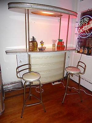 VINTAGE 50s COCKTAIL BAR 2 STOOLS retro drinks kitsch home original 60s cabinet
