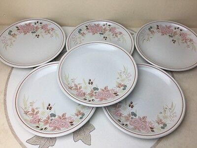 """Boots Hedge Rose 6 x Salad / Dessert Plates 8.1/2"""" Lovely Condition"""