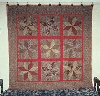 PINWHEEL STARS in Red Sashing Antique Quilt, from Canton, Ohio, c 1880 Cottons