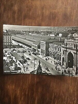 Postcard of Zurich railway station, 1930s, with trams