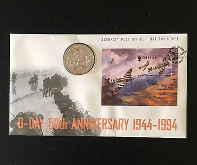 1994 Guernsey £2 Two Pounds Crown Coin 50th Anniversary Of D-Day First Day Cover