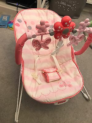 Pink Fisher price Bouncer With Vibrate And Spinning Toy