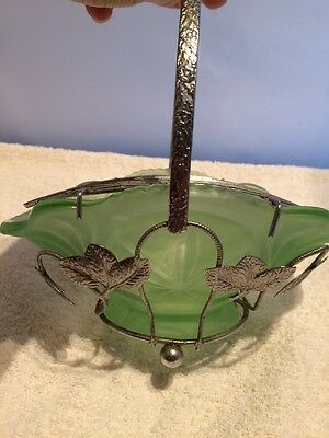 Vintage Frosted Green Glass Flower Bowl With Chrome Frame