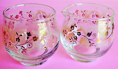 Vtg LIBBEY Clear Glass OPEN SUGAR & CREAMER Pink and Gold Floral Frosted Design