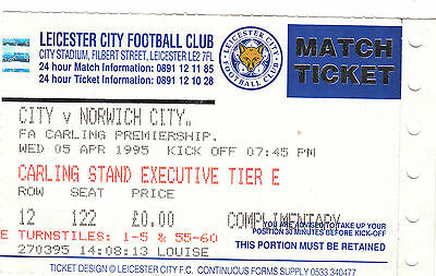 Ticket - Leicester City v Norwich City 05.04.95