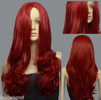 Hot Dark Red Curly wavy Long Cosplay DNA Wigs + free wig cap
