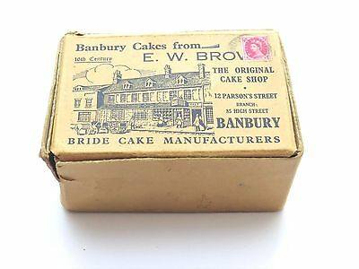 Vintage Posted Cardboard Cake Box (stamp and postmark) from E W Brown of Banbury