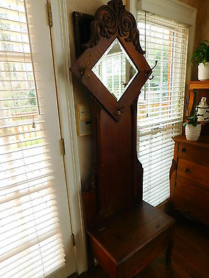 Antique American Tiger Oak Hall Tree With Seat & Mirror, Early 19th Century
