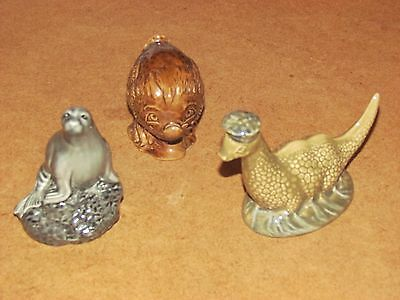 3 antique vintage beswick miniature bottles - seal haggis loch ness monster