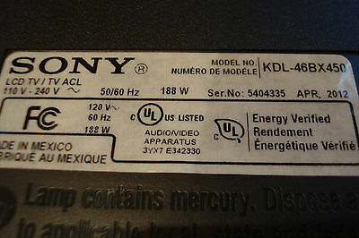 Sony 46 inch LCD TV KDL-46BX450 T-Con Control Timing Board Unit
