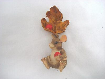 Charming Tails Maxine Hanging Leaf Berries Christmas Ornament RARE