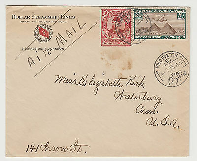 Egypt 1934 - Dollar Steamship lines private cover to USA via Holland