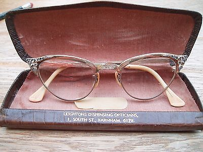 Vintage cats eye 1950's ladies spectacles glasses G.F. crystal 11 photos check