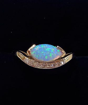 9ct Yellow Gold Marquise Opal and Diamond Ring - Wishbone Style - Size N 1/2