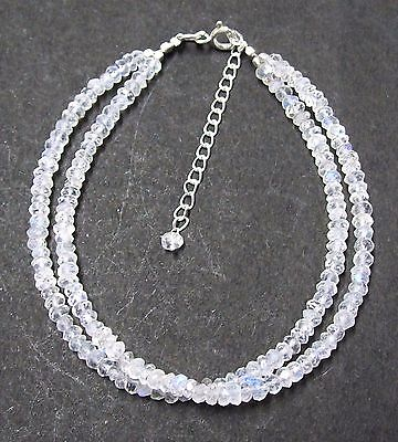 925 Sterling Silver Natural Moonstone Gemstone Beads Bracelet Fashion Jewelry 7""