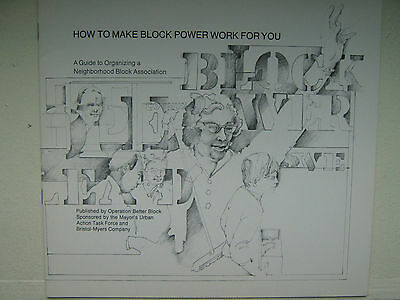 1969 New York MAYOR JOHN LINDSAY booklet HOW TO MAKE BLOCK POWER WORK FOR YOU A+
