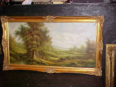 Large early oil on canvas painting signed by artist landscape Lot 2559