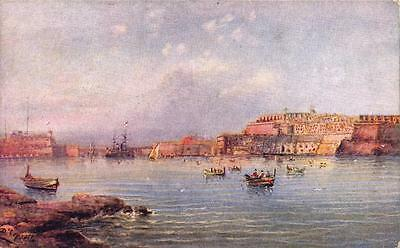 Vintage Postcard Grand Harbour MALTA from entrance by Critien's
