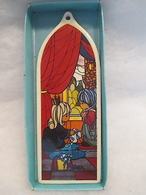 """Vtg Xmas 1989 Precious Moments Ornament--Porcelain--""""stained Glass""""--P190"""