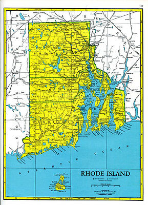 Rhode Island Map 1960s Cram Atlas Mid Century US State Map