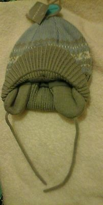 Baby Boys Blue and whte fair isle  Hat Age 6-12 Months BNWT