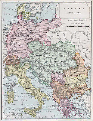 Antique Central Europe Map, 1890s, Rand McNally, Wall Decor, Continent Map