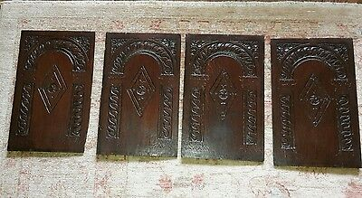 Early Carved Oak Panels from coffer