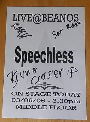 Speechless - Sam Robson,Bruno Crozier, k? signed A4 sheet from Beanos 2006
