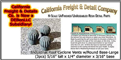 Industrial Roof Cyclone Vents w/Round Base N/1:160- CAL Freight & Details nnbPR7