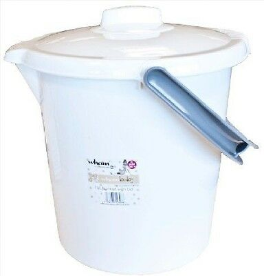 16 L Litre Nappy Bucket With Lid Ice White And Grey Handle No