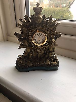 Small 7.5Inches  But Very Pretty Gilt Resin Cherub Mantle Clock Reproduction
