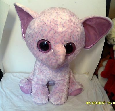 "Ty Ellie Elephant Large Jumbo Plush Justice Exclusive Beanie Boo 16"" Pink Boos"